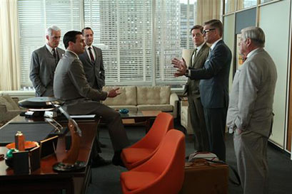Roger Sterling (John Slattery), Don Draper (Jon Hamm) Pete Campbell (Vincent Kartheiser), Ted Chaough (Kevin Rahm), Jim Cutler (Harry Hamlin) and Bertram Cooper (Robert Morse) - Mad Men _ Season 6, Episode 10 _ 'A Tale of Two Cities' - Photo Credit: Michael Yarish/AMC